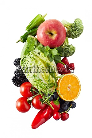 overhead view on vegetables and fruits