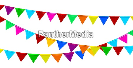festive garlands of colored flags