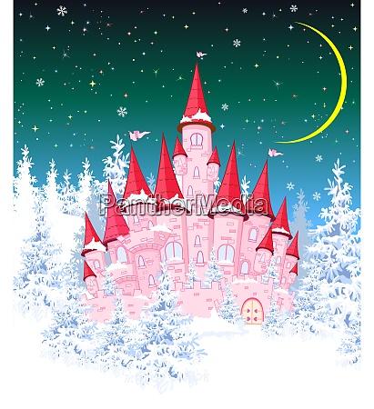 princess, castle, winter, night - 27049871