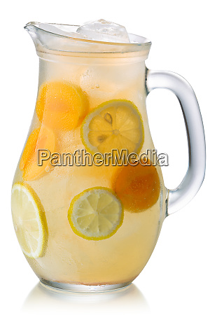 iced apricot lemonade pitcher isolated paths