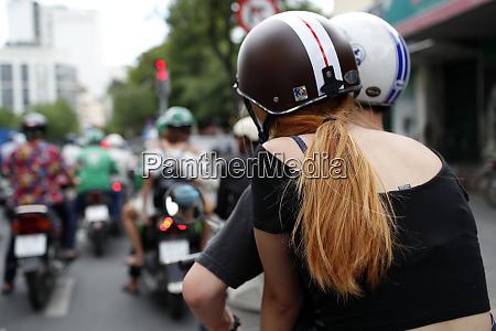 heavy traffic motorbikes on the street