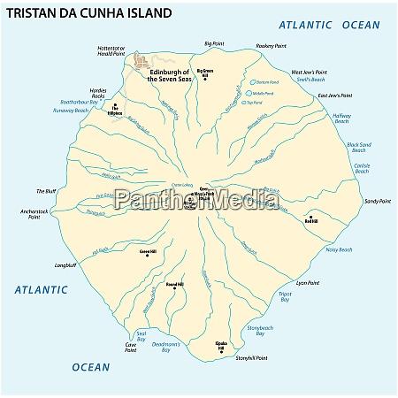 map tristan da cunha island in