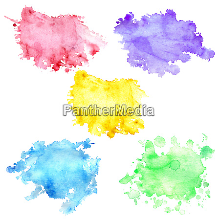 watercolor blot of yellow with splashes