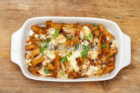 rigatoni pasta with sauce bolognaise and