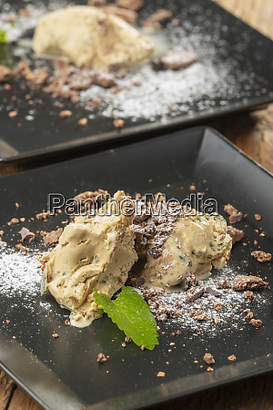 peppermint ice cream on a plate