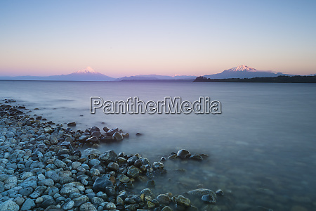 sunrise over lake llanquihue and volcan