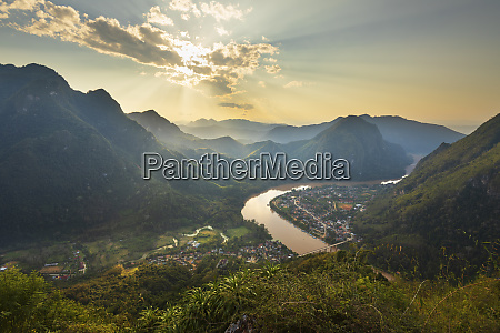 sunset over nam ou river from