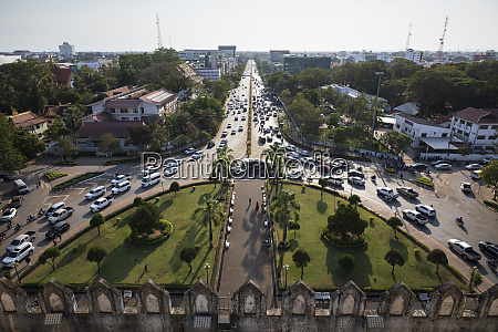 lane xang avenue viewed from top