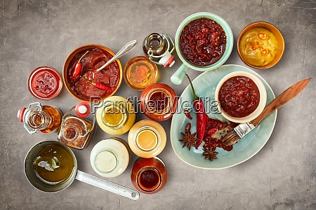 assorted sauces marinades and dressings for