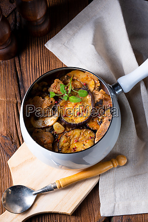 veal goulash with baked aubergine and