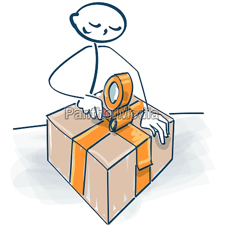 stick figure packs a parcel with