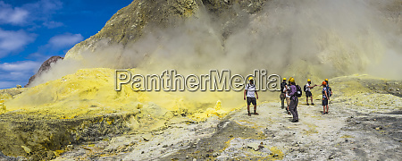 tourists exploring white island volcano an