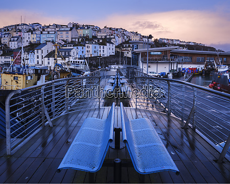 wet teak decking and benches of