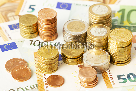stack of euro coins on euro