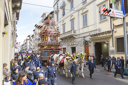 an ornate ox cart for the