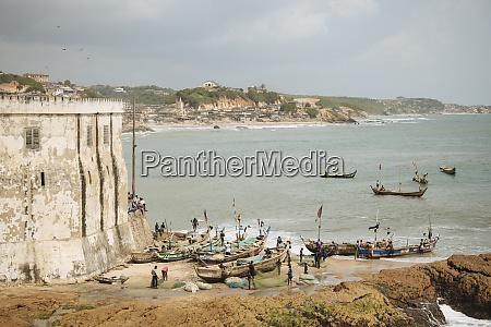 fishermen preparing boats at cape coast