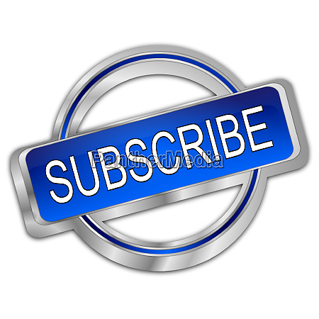 decorative silver blue subscribe button