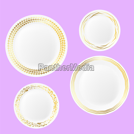set of ceramic plate with gold