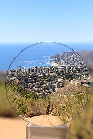 high hillside view of coastline of