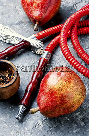 smoking arab hookah with pear