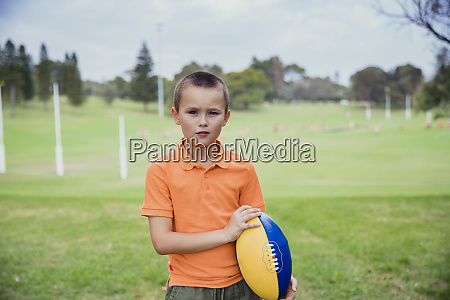 young boy ready to play rugby