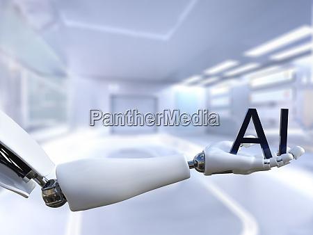 3d rendering of male robot hand