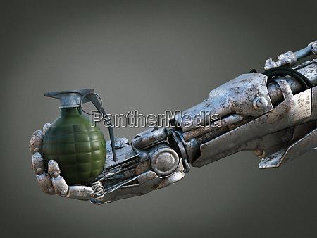 3d rendering of robot hand holding