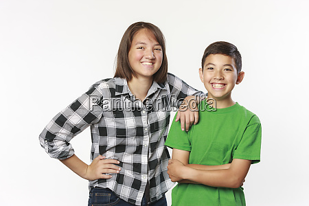 brother and sister in studio photo