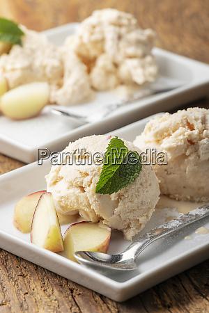 closeup of peach ice cream on