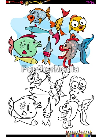 fish animal characters group color book