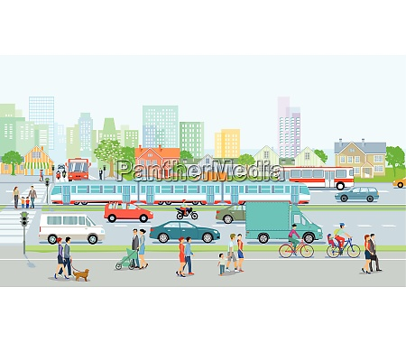 city with traffic and pedestrians on