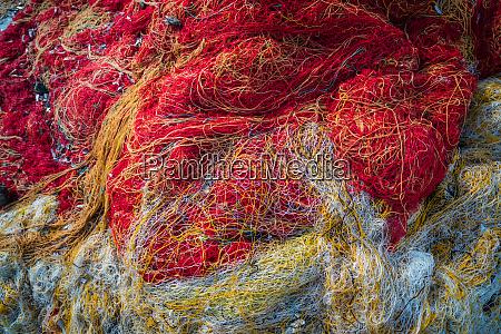 tangled colorful fisherman fishing nets