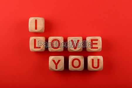 wooden cubes with i love you