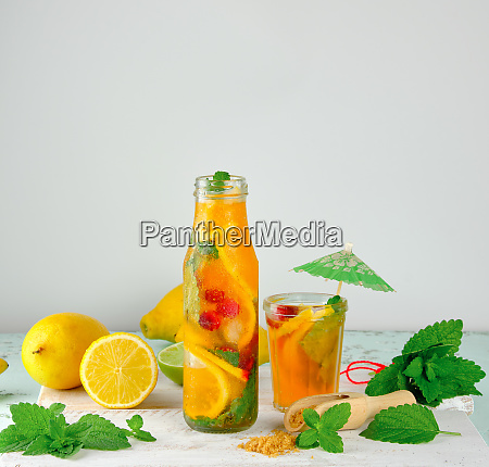 summer refreshing drink lemonade with lemons