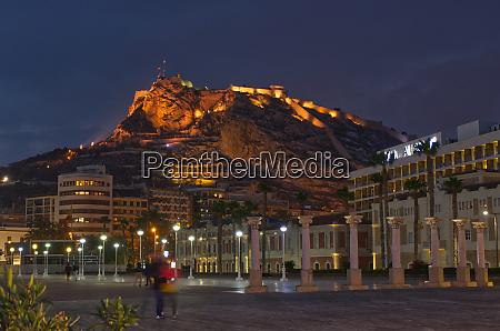 santa barbara castle at night alicante