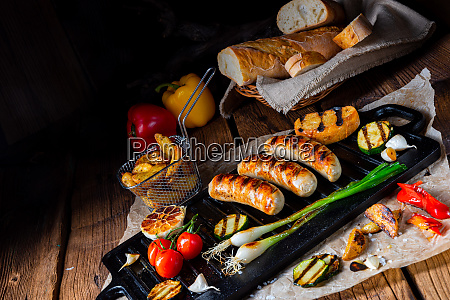 delicious grilled sausage with various