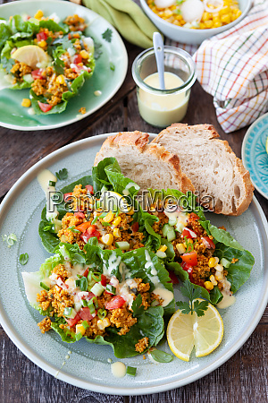 fresh salad with couscous