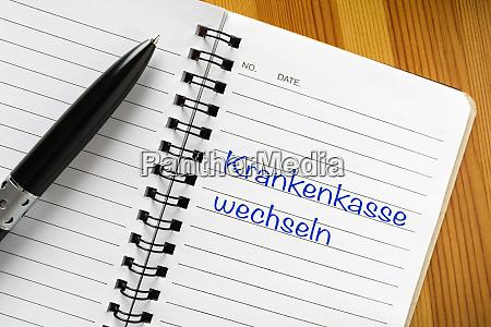 note in german language krankenkasse wechseln