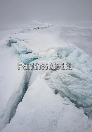 pressure ridge on lake tornetrask sweden