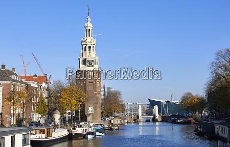 montelbaanstoren tower and oudeschans canal amsterdam