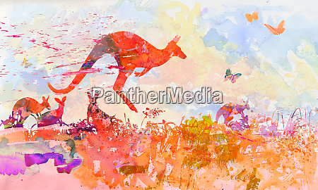 watercolor with kangaroos in the dense