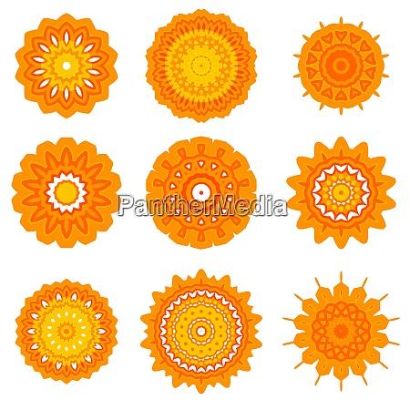yellow ornamental line pattern round texture
