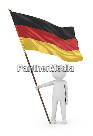 german patriot holding flag of germany