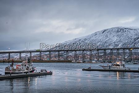 tromso bridge across tromsoysundet strait and