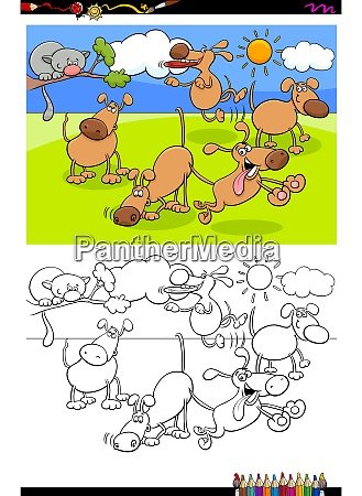 dogs in the park group coloring