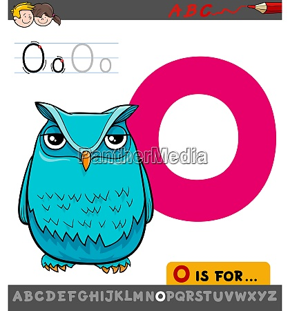 letter o worksheet with cartoon owl