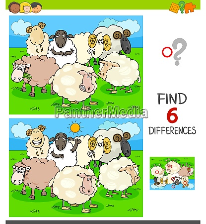 finding differences game with farm sheep