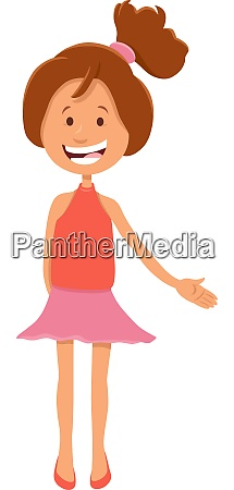 pretty teen girl character cartoon illustration