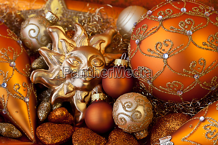 elegant christmas ornament still life with