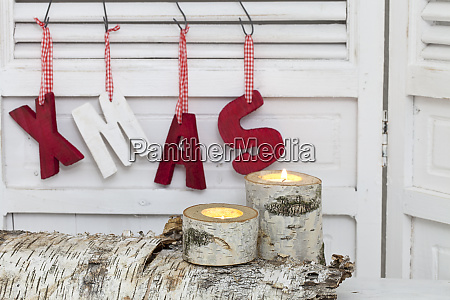 rustic christmas decoration with word xmas